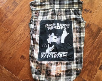 upcycled david Bowie tshirt sleeveless frayed  flannel