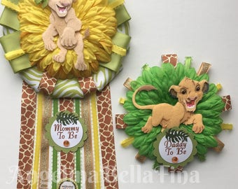 NEW Lion King Mommy and Daddy To Be Corsage Set