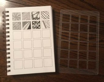 """Square Inchies 1"""" x 1"""" Stencil for 5 x 8 Journals"""
