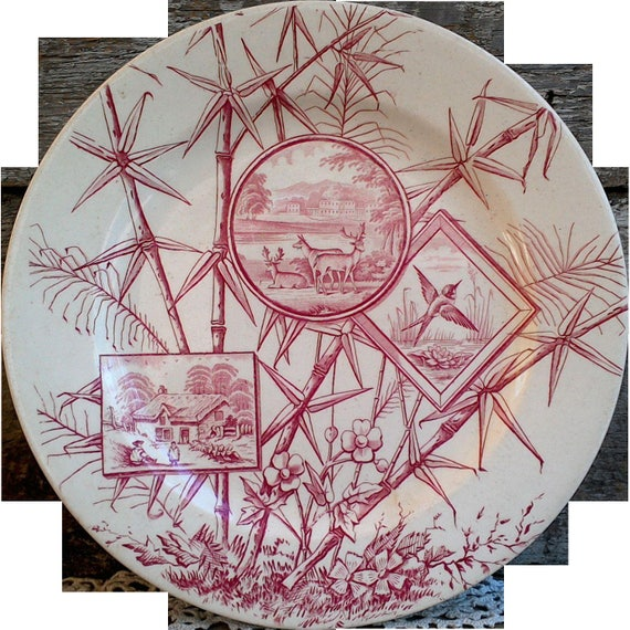 SALE - Antique Chatsworth, Dinner Plate, JH Davis, 1800's, Red Transferware, Plate, Asethetic Movement, Old Ironstone, Serving, 9 7/8