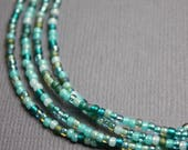 Blue Green Seed Bead Necklace, Long Blue Green Seed Bead Single Strand Necklace, Blue Green Layering Necklaces, Dainty Blue Necklaces