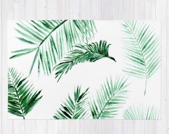 Modern Tropical Palm Leaves Area Rug, palm leaves rug, palm leaf rug, modern area rug, minimal rug, palm area rug, tropical area rug