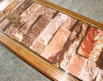 Photo Cloth Table Runner #P - Brick Wall of brown tones, large, realistic, beautiful with wood
