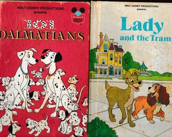 Walt Disney's Lady and the Tramp and 101 Dalmatians - Vintage Childrens Books - Hardback, Two Small format books