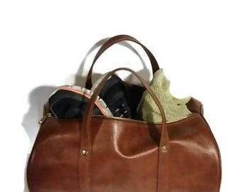 Vintage Travel Duffel Bag - Brown Vinyl duffel bag- Suit Case - Luggage - Large - gym bag - sports bag