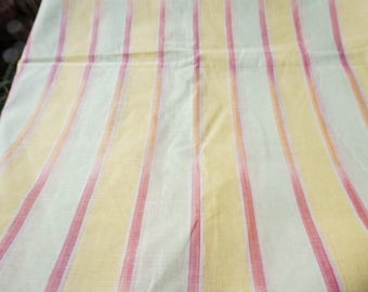 Gradient Stripes Pastel Yellow and green Handloom Woven Cotton Light Weight Sheer Cotton Voile Fabric Sold by Yard