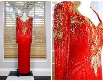 EXQUISITE Red Gold Beaded Gown // Heavily Beaded Avant Garde Embellished Gown by Oleg Cassini Black Tie US 8