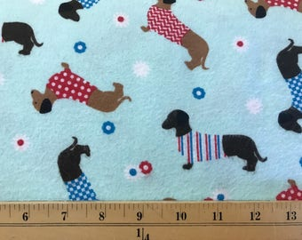 FLANNEL - Dachshunds in Sweaters on Blue Fabric - Dachsunds Material - Blue Dachshund Fabric - Weiner Dog Fabric - Small Dogs - Doxies