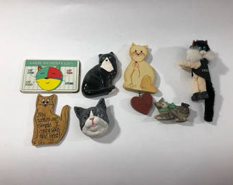 Lot of Vintage Cat Magnets Wood, Metal, Resin Ceramic Refrigerator Kitchen