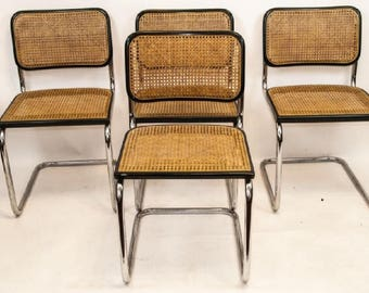 Mid Century Caned and Chrome Breuer Chairs Set of 4