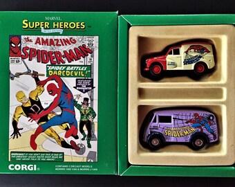 Vintage Corgi Toys Limited Edition Spider-Man Marvel Super Heroes Morrris Vans Diecast Models Set 1 of 5000