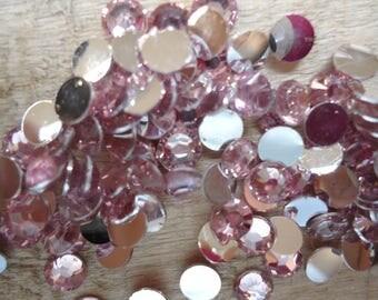 Set of 100 Pink Rhinestone acrylic 4 mm