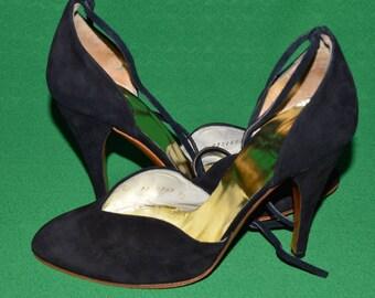 Vintage Authentic Black Shoes Christian Dior. Souliers. 1950s
