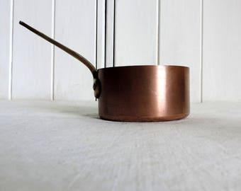 Vintage French copper cooking pot, sauce pan,  with brass handle and copper rivets
