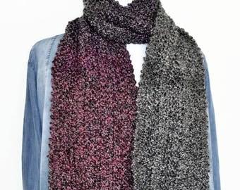 Raspberry hand knit scarf, knitting scarf, hand knit scarf, fashionable scarf, womens winter scarf, big scarf, mens neck scarf, long scarf