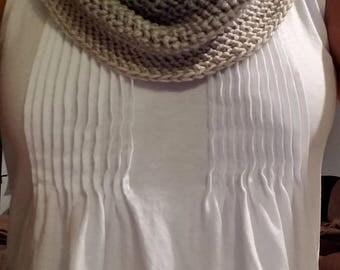 Ribbed edge gray and cream tones semi-dressy cowl