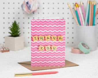 Thank You Card, Pink Thank You Card, Scrabble Inspired Greetings Card | Claireabellemakes