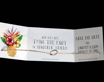 Destination wedding announcement, tying the knot save the date, Beach save the date, Tropical save the date, Knot announcement set of 20