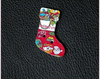 Socks Christmas modele16 1 x wooden buttons