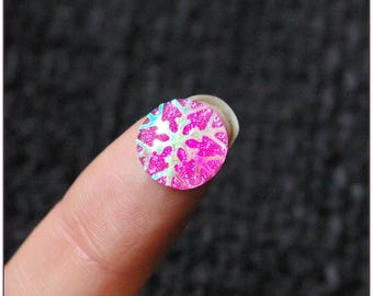 12mm cabochon pink star spangled x 1