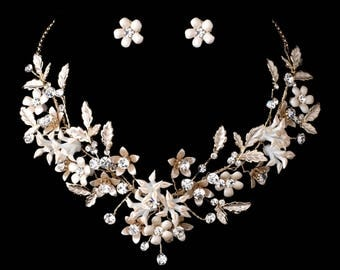 Floral Vintage Style Bridal Necklace Earring Set With Crystals In Champagne Light Gold, Bridal Jewelry Set, Wedding Jewelry
