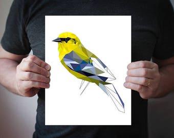 Blue-winged warbler - bird print - geometric - animal art - nature - garden bird print - anniversary gift - gardeners gift - blue and yellow