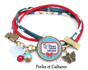 SCHOOL bracelet - red bead bow cabochon blue