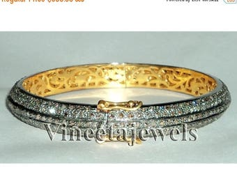 ON SALE 10% OFF Victorian Inspired Rose Cut Pave Diamond  Antique Cuff  Wedding Bracelet Jewelry