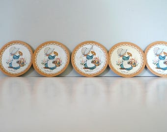 Five Vintage 1970s Miss Petticoat Drink Coasters Kawaii Home decor Sarah Kay style Hollie Hobbie