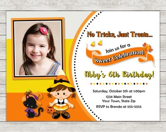 Halloween Birthday Invitation, Candy Corn Halloween Girl Birthday Invite - Printable File or Printed Invitations