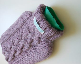 TheCraftyElks: Hand Knitted Hot Water Bottle Cover (Cosy) in Rose Pink - Alpaca Yarn