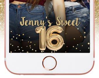 Sweet 16 Birthday Snapchat Geofilter with Gold Glitter Balloon, 16th Birthday Geofilter