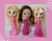 DOLL CLOTHES Lot of 3 Pink Gowns handmade for Littlest Pet Shop BLYTHE Petite Lot #14