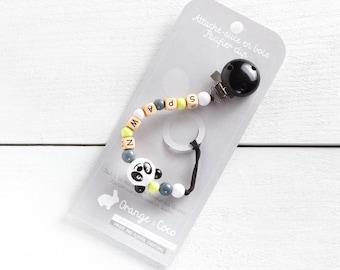 Baby pacifier clip, panda pacifier clip, pacifier holder, black pacifier clip, baby pacifier clip,  pacifier chain, soothie clip, panda,