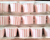18 Pink striped 8oz paper cups/bowls - 200ml ice-cream/gelato cups - wedding dessert cup - baby shower/birthday snack/treat party cup