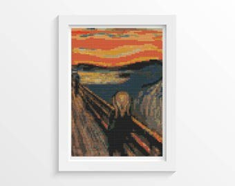 Cross Stitch Kit, Scream MINI Cross Stitch, Embroidery Kit, Art Cross Stitch, Edvard Munch (TAS137)