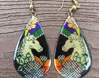 Vintage Unicorn Dangle Earrings