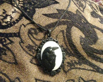 Black Raven Pendant Necklace