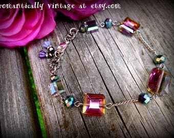 Bracelet, Crystals, Handmade, Charms, Jewelry, Accessories, Shabby Chic, Gift, Art, Rhinestones