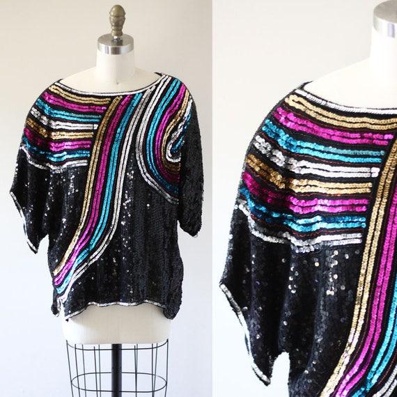 1980s rainbow sequin top // 1980s black sequin shirt // vintage sequin top