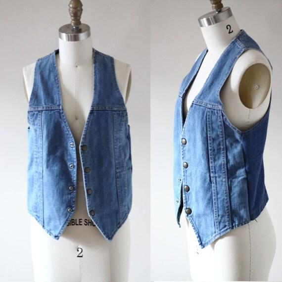 1970s denim vest // vintage jean vest  // vintage vest