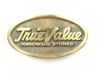 Vintage Brass Belt Buckle - True Value Hardware - 1970s Great American Buckle Co - Cotter & Co Collectible - Vintage Promo + Advertising