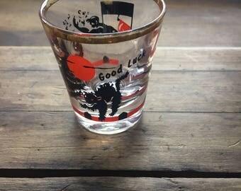 Vintage Halloween Black Cat 'Good Luck' shot glass