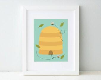 Nursery Art Print, Children's Artwork, Beehive Art Print, Bees Artwork, Bee Nursery Theme, Bee Art Decor, Bumblebee, Bee Hive, Busy Bees