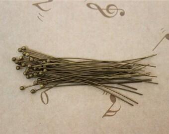 100 bead 50mm brass ball head pins
