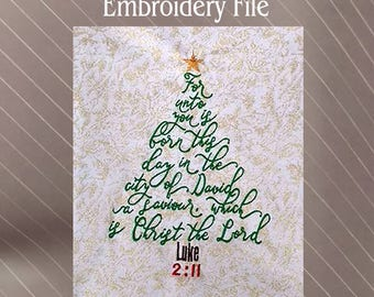 Christmas Tree bible verse Luke 2:11 Machine embroidery design file