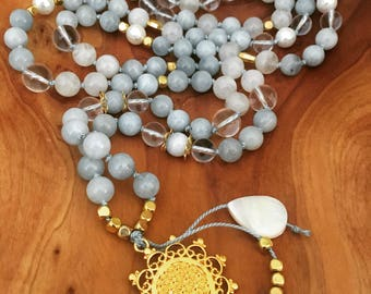 Aquamarine Moonstone Pearl Crystal Quartz 8mm Mala Necklace with Gold and Mother of Pearl