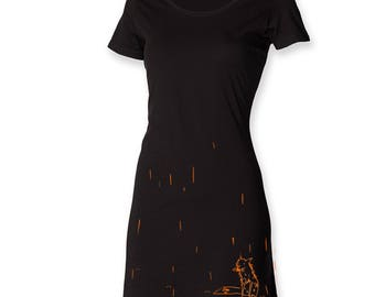 Funky t shirt dress, gift for her, fox dress, fox in the rain, foxy tee dress, painted apparel, hipster women dress