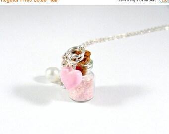ON SALE Fairy Kei Stardust Glitter Bottle Charm Necklace, Choice of Sterling Silver Chain, Cute, Kawaii :D