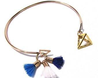 Bangle - blue tassel, pyramid, bench, gold
